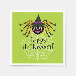 Spider Witch Halloween Party Paper Napkins