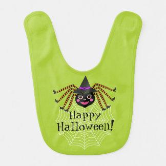 Spider Witch Happy Halloween Bib