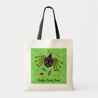 Spider Witch Personalized Trick or Treat Tote Bag