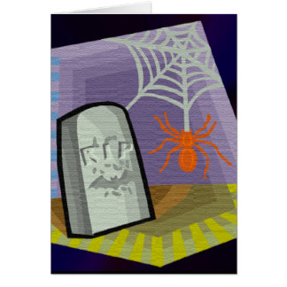 Spider with Web & RIP Marker Greeting Card