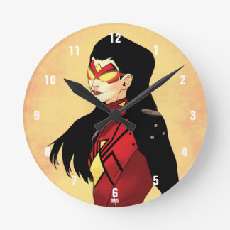 Spider-Woman Clenched Fists Round Clock