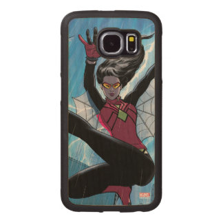 Spider-Woman Getting The Drop On Villain Wood Phone Case