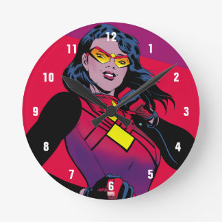 Spider-Woman Raised Fist Round Clock