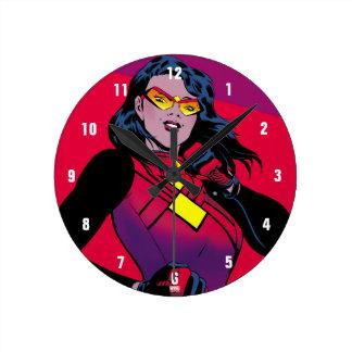 Spider-Woman Raised Fist Round Clock
