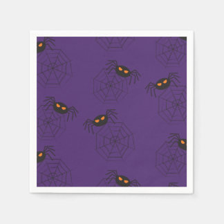 Spiders and spider webs pattern Halloween Paper Napkin