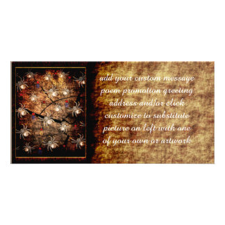 Spiders In Tree Stump Photo Card