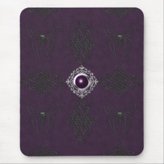 Spiders & Purple & Silver Gothic Gem Mousepad