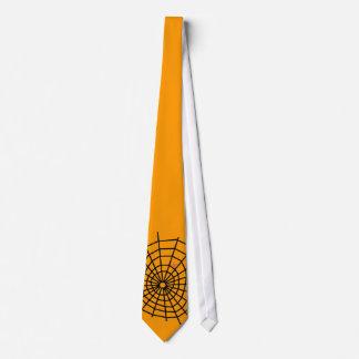 Spiders Web Orange Tie