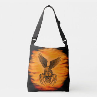 Spiderskull with Eagle in Tattoo-style Crossbody Bag