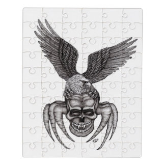 Spiderskull with Eagle in Tattoo-style Jigsaw Puzzle