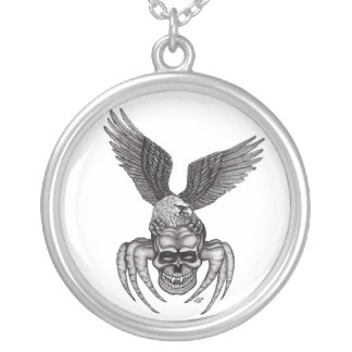 Spiderskull with Eagle Silver Plated Necklace
