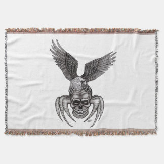 Spiderskull with Eagle Throw Blanket
