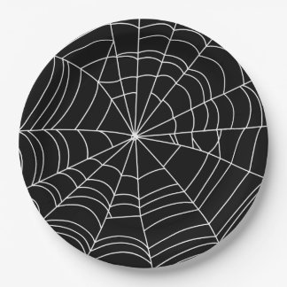 "Spiderweb Halloween Party Plate, 9"" Paper Paper Plate"