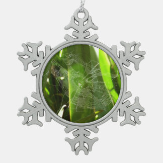 Spiderweb in Tropical Leaves Green Nature Snowflake Pewter Christmas Ornament