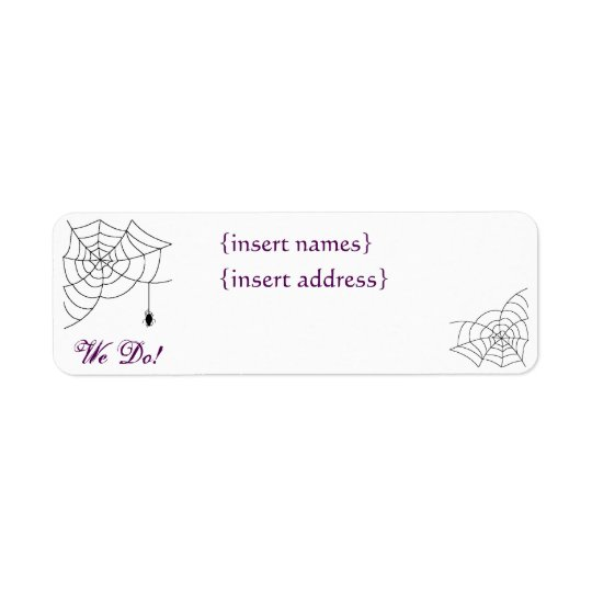 Spiderweb Wedding Return Address Labels