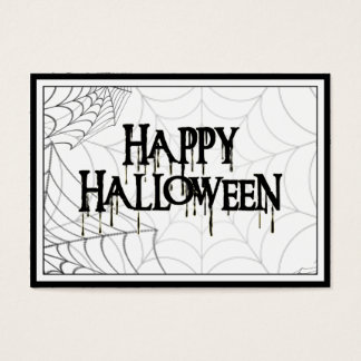 Spiderwebs And Happy Halloween Creepy Text Business Card