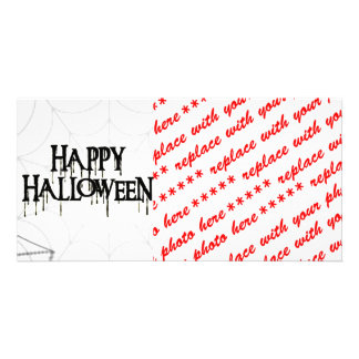 Spiderwebs And Happy Halloween Creepy Text Photo Greeting Card
