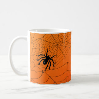 Spiderwebs on Orange Coffee Mug