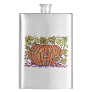 Spidery Jack O'Lantern Hip Flask
