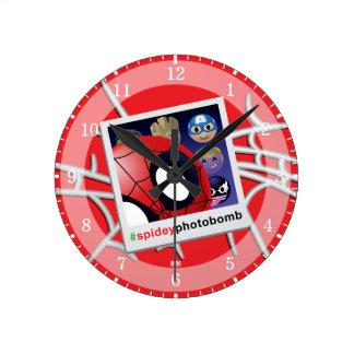 #spideyphotobomb Spider-Man Emoji Round Clock