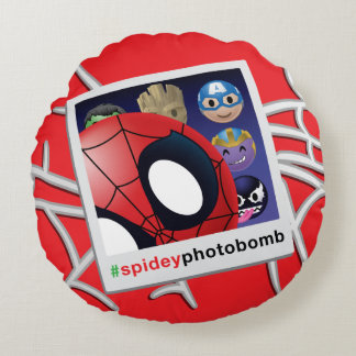 #spideyphotobomb Spider-Man Emoji Round Cushion