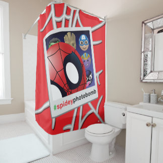 #spideyphotobomb Spider-Man Emoji Shower Curtain