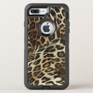 Spiffy Leopard Spots Leather Grain Look OtterBox Defender iPhone 8 Plus/7 Plus Case