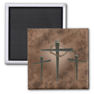 spike cross and crown of thorns magnet