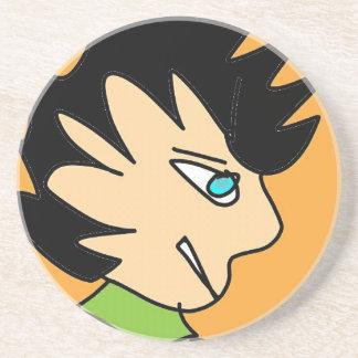 spike kid cartoon face coaster
