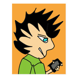spike kid cartoon face postcard