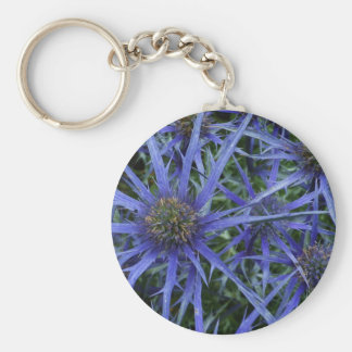 SPIKY BLUE SEA HOLLY FLOWER Round Keyring