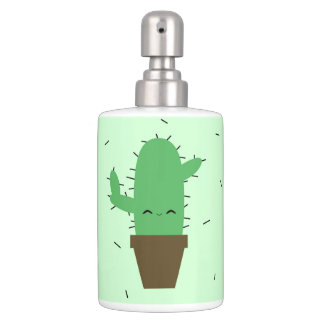 Spiky cactus toothbrush holder soap dispenser set