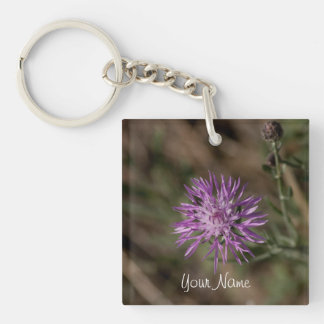 Spiky Clover; Customizable Single-Sided Square Acrylic Key Ring