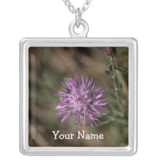 Spiky Clover; Customizable Square Pendant Necklace