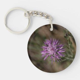 Spiky Clover; No Text Single-Sided Round Acrylic Key Ring