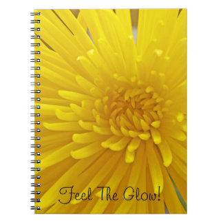 Spiky Yellow Dahlia Close-Up Photograph Spiral Notebook