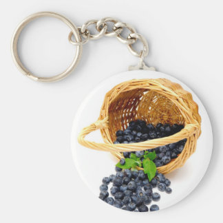Spilled Blueberries Basic Round Button Key Ring