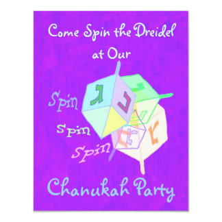 Spin Spin Dreidel Chanukah Party Invitations