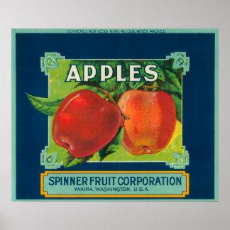 Spinner Fruit Apple Label - Yakima, WA Poster