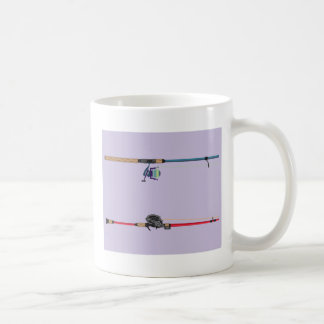 Spinning and baitcasting rods with reels handles coffee mug