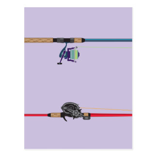 Spinning and baitcasting rods with reels handles postcard