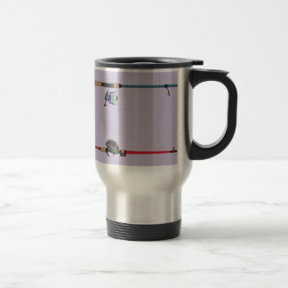 Spinning and baitcasting rods with reels handles travel mug