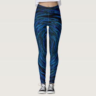 Spinning blue waves leggings