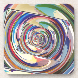 Spinning Colors Abstract Coaster