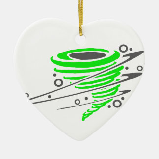 Spinning green tornado ceramic ornament