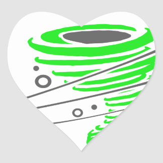 Spinning green tornado heart sticker