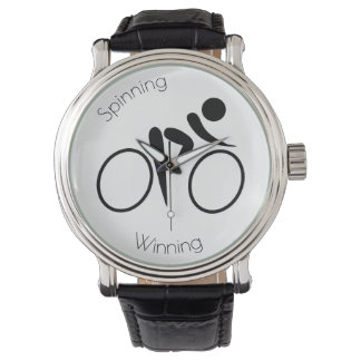 Spinning Sport Watch Bicyclist on Face Black White