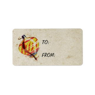 Spinning Toy Top Antique Christmas Address Label
