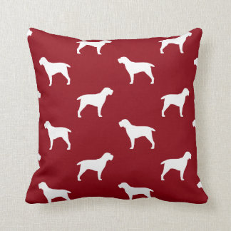Spinone Italiano Silhouettes Pattern Red Cushion