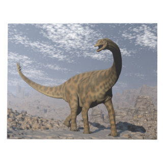 Spinophorosaurus dinosaur walking in the desert notepad